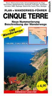 Cinque terre. Plan. Wanderweg-Führer. 185 Wanderwege, Maßtab 1:25.000 -