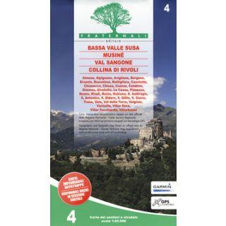 Carta n. 4. Bassa Valle Susa, Musiné, Val Sangone, Collina di Rivoli. Carta dei sentieri e stradale 1:25.000. Adatto a GPS -