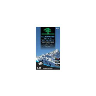 Sci alpinismo in Valle Po e Val Varaita. Cartoguida scala 1:25.000-Sky mountaineering map guide 1:25,000 scale -
